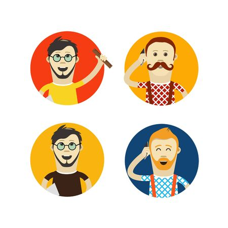 hesitations: Yound hipsters vector flat design illustration