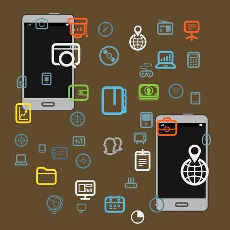 smart phone: information fransfer illustration
