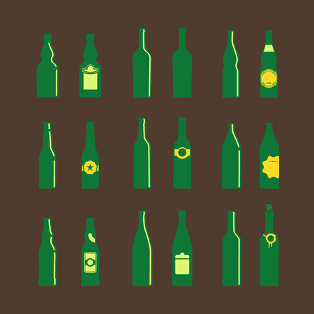 litre: Different bottles with tags Illustration