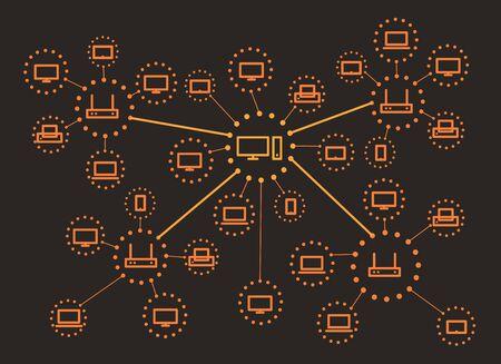 lineart: Modern web media network scheme. Lineart design concept