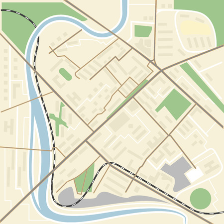 uptown: Abstract city map flat design illustration