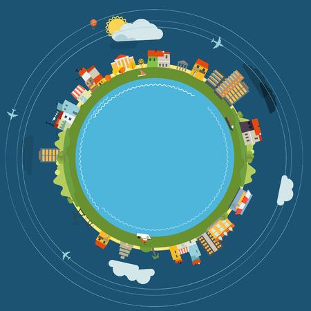 piso: Ilustración Diseño plano de la Tierra