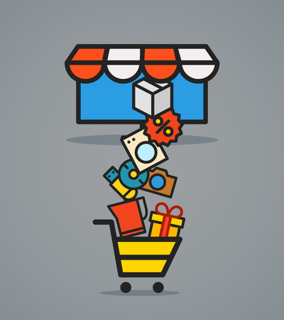 web commerce: Modern web commerce scheme. Flat design shopping concept Illustration