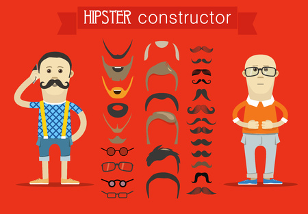 hesitations: Hipster accessories vector clip-art. Person design elements Vettoriali