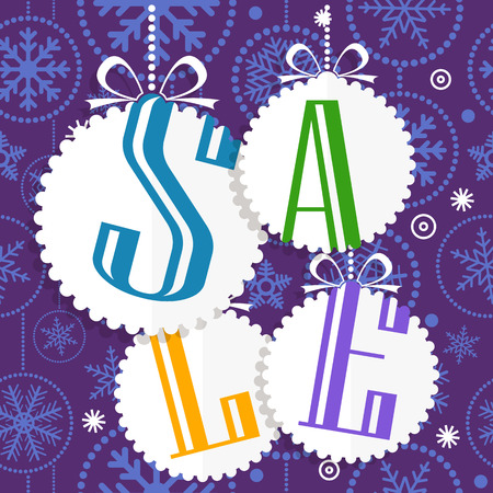 hapy: Christmas sale card with white christmas bauble and snowflakes. Merry Christmas and Hapy New Year