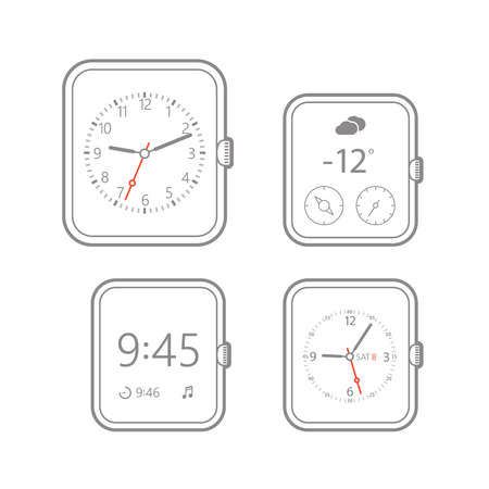 photoreal: Modern digital watch dials template Illustration