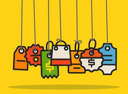 web commerce: Moderno web tag commerce collezione. Design piatto concetto di shopping Vettoriali