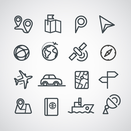 transport icons: Different transportation icons collection.