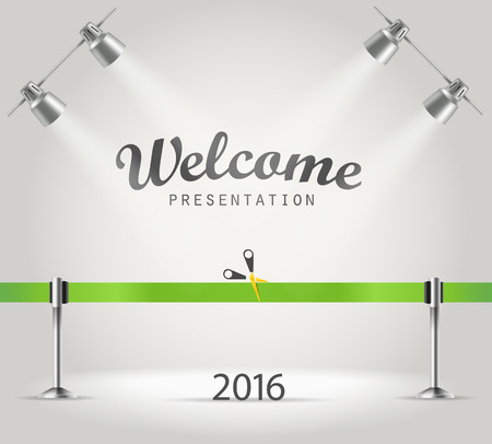 photoreal: Photorealistic bright stage with projectors and green ribbon. Presentation vector template