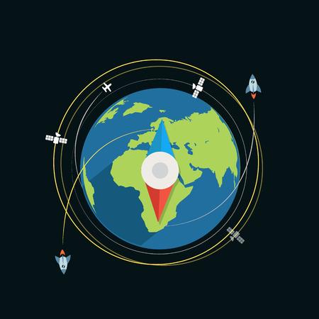 sattelite: Compass flat design vector illustration Illustration