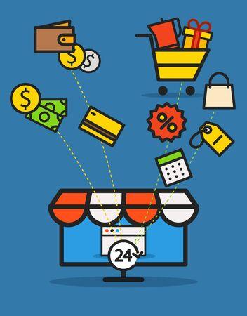web commerce: Modern web commerce illustration. Flat design shopping concept Vettoriali
