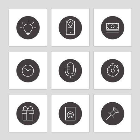 application icons: Different line style icons on circles. Application pictograms collection