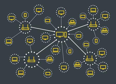 esquema: Esquema de red de medios web moderno. Lineart concepto de diseño