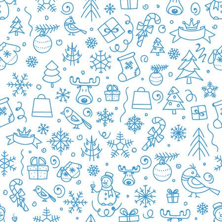 クリスマス シーズンがシームレスなパターンをベクトルします。クリスマス手描きの要素