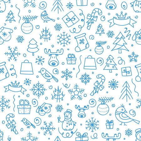 isolated on a white background: Christmas season vector seamless pattern. Xmas hand-drawn elements