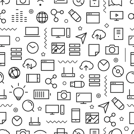 tech background: Different line style icons seamless pattern. Technology