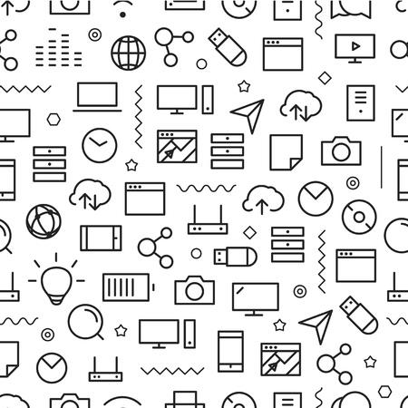 technology: Diverso stile della linea icone seamless. Tecnologia Vettoriali