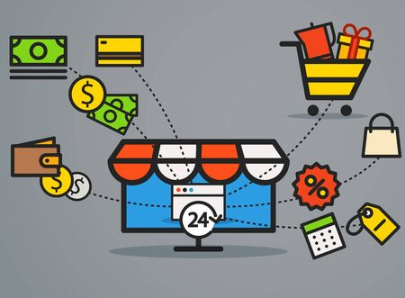 web commerce: Modern web commerce illustration. Flat design shopping concept Illustration