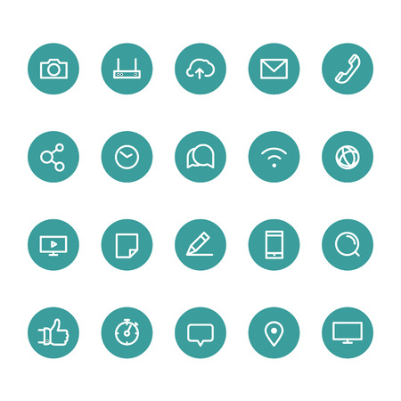 blogs: Different line style icons on circles set. Social media Illustration
