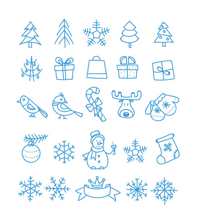 Christmas season vector elements collection. Xmas hand-drawn elements