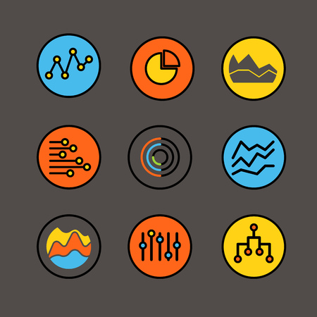 ratings: Different graphic business ratings and charts. infographic color elements