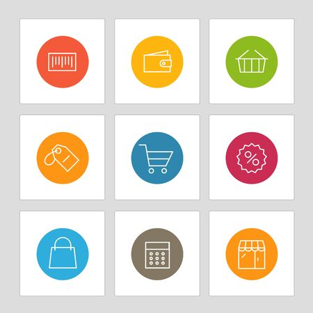 bankomat: Different line style icons on circles. Application pictograms collection