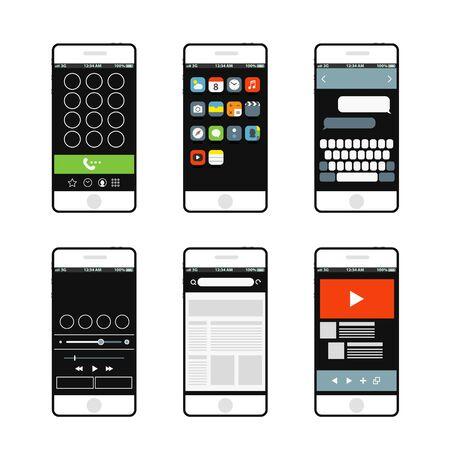 interface elements: Modern smartphone interface elements Illustration