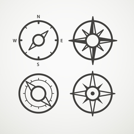 orienting: Wind rose and compass retro design vector collection
