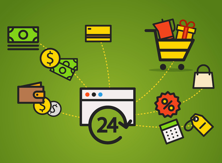web commerce: Modern web commerce illustration. Flat design shopping concept Illustration