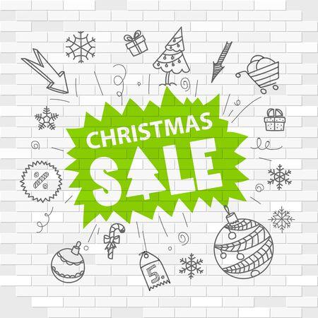 christmas sale: White brick wall and graffiti label. Christmas sale
