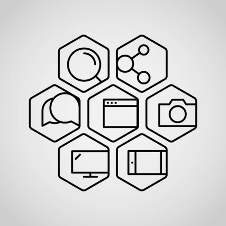 lineart: Different lineart icons set. Appication or web interface icons collection