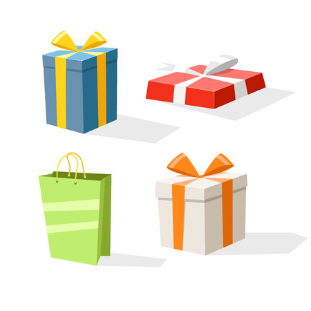 transportaion: Different color gift boxes isolated on white. Design elements