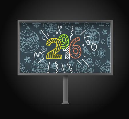 advertising board: Blank urban advertising board template. Happy new year!