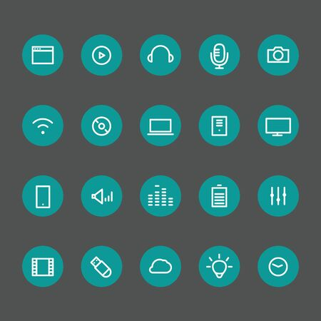 thin bulb: Different line style icons on color circles set. Technology