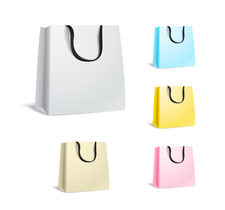 white paper bag: Different paper shopping bags isolated on white Illustration