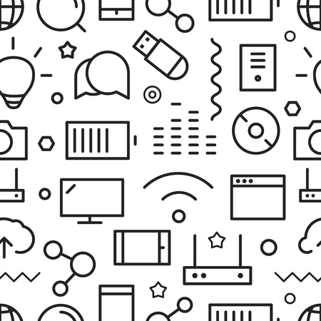 lineart: Different web icons seamless pattern. Lineart concept Illustration