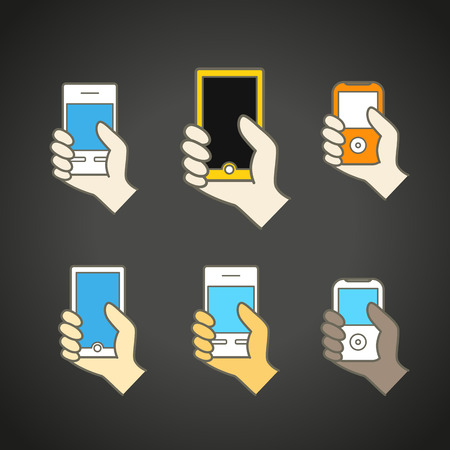 lineart: Different modern mobile gadgets. Lineart color collection Illustration
