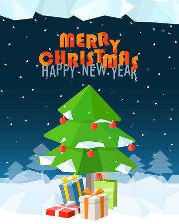 holyday: Christmas greeting card. Merry Christmas and Happy New Year