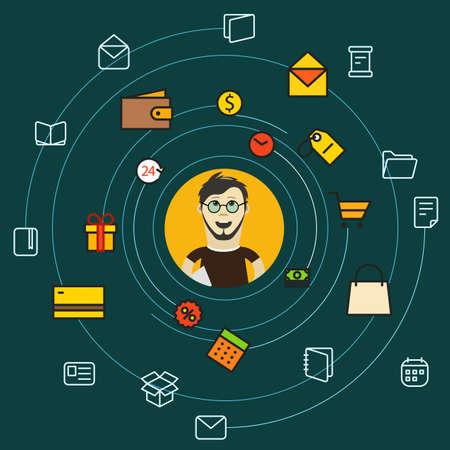 web shopping: Modern web shopping concept Illustration