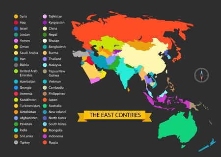 World map infographic template. The East countries illustration Vetores