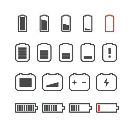 status: Different accumulator status icons. Minimalism illustration concept Illustration