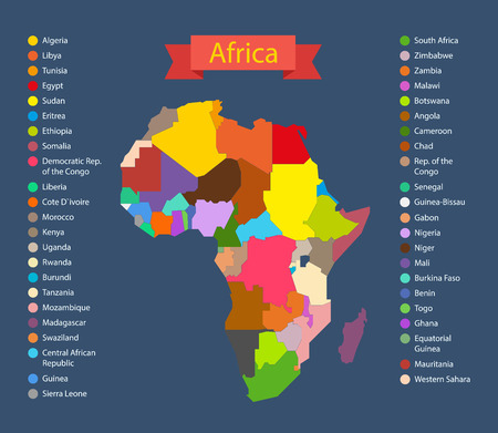 frontier: World map infographic template. Countries of Africa