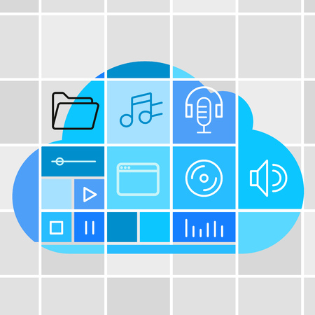 eps vector icon: Media storage cloud technology concept Illustration