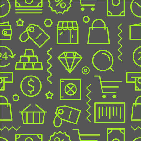 lineart: Different shopping seamless pattern. Lineart concept
