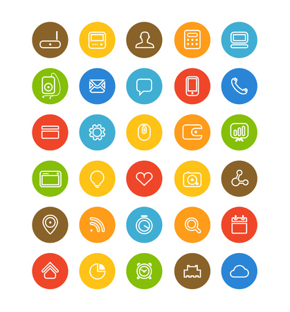 application icons: Different simple web navigation pictograms collection. Flat design application icons isolated on white