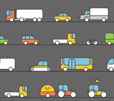 motocycle: Different transport silhouette icons collection. Seamless pattern