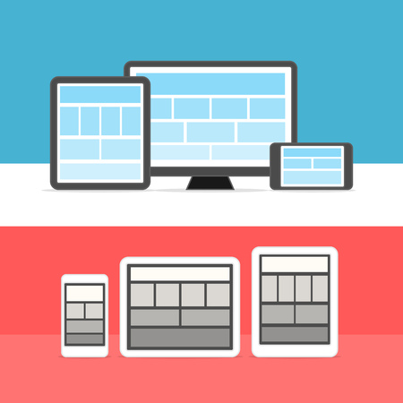page site: Adaptive design layouts. Web site page templates collection on different devices Illustration