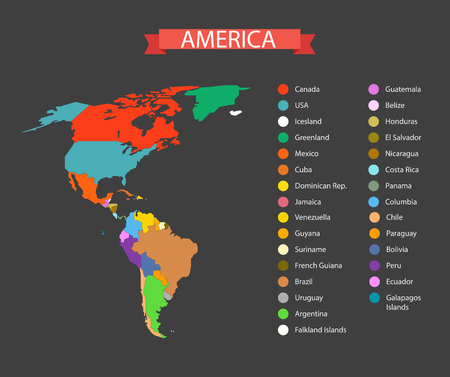 frontier: World map infographic template. Countries of America Illustration