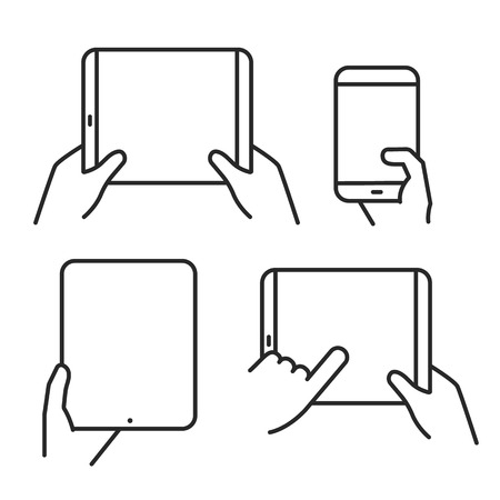 lineart: Different variations of holding a modern gadget. Lineart pictograms collection Illustration