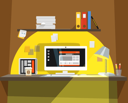 working place: Interior of Working place Illustration